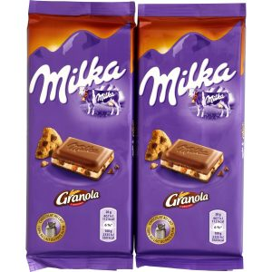 "Milk & ""Granola"" Chocolate Milka X2"