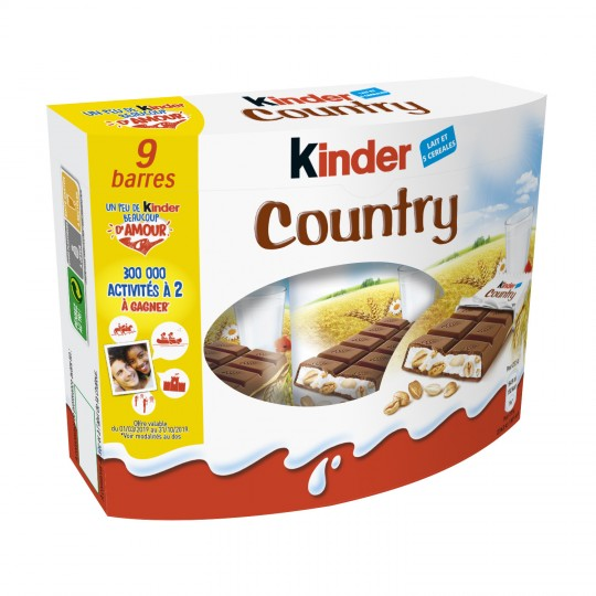 Barres Chocolatées Céréales Kinder Country X 9 - My French Grocery
