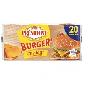 Fromage Burger' Cheddar Emmental Président - My French Grocery